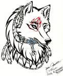 Tribal Native Wolf Head