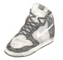 Nike Shoe Tonal Drawing by liangelkissesil