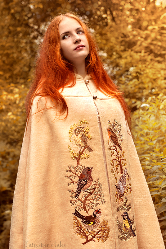 Forest birds cloak - Embroidery by Fairysiren