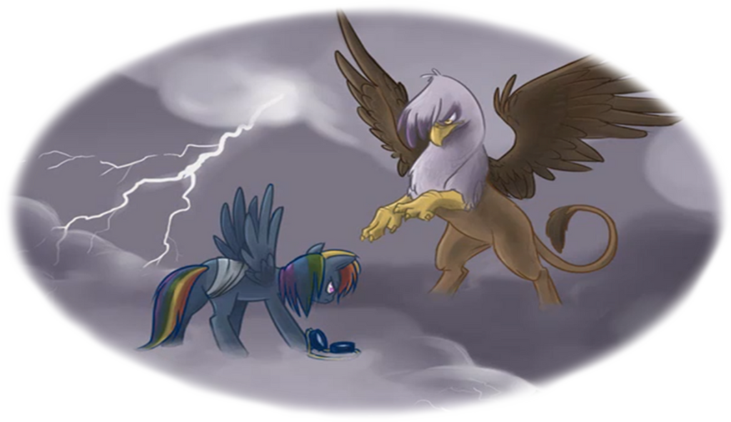 Rainbow Dash Vs. Gilda by MysteryMelt