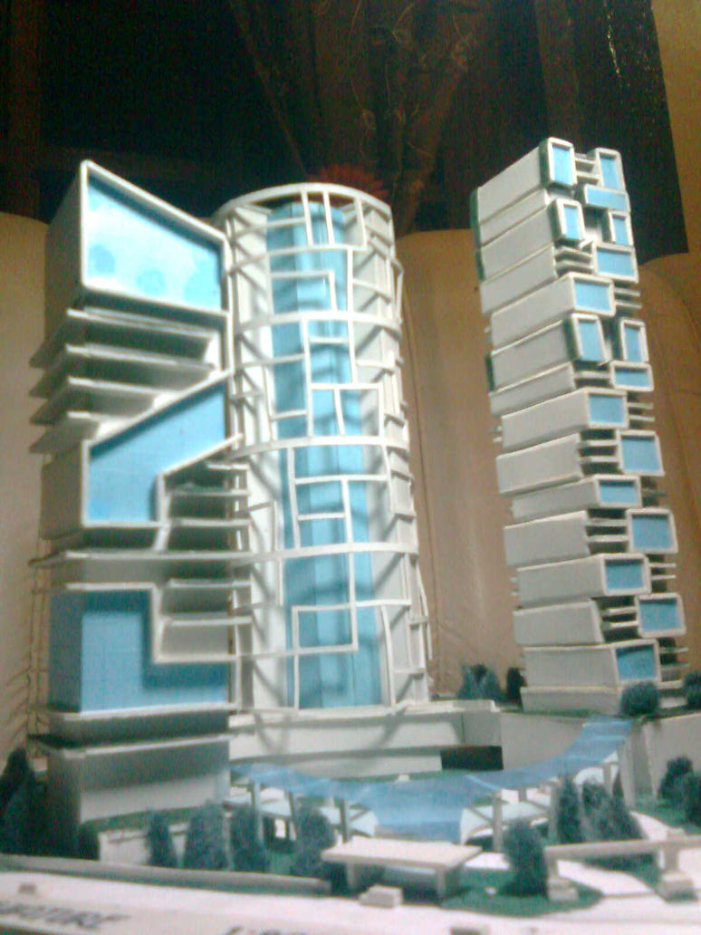 triple tower scale model by davens07