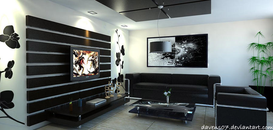 living room black and white by davens07