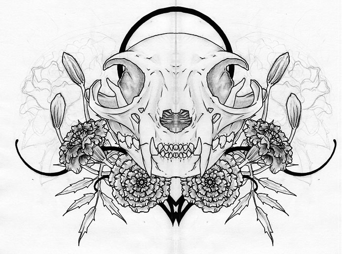 Cat Skull and Marigolds WIP by KMoongangSR