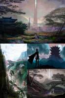 Chinese Fantasy Environment Concept Thumbnails by mkmatsumoto