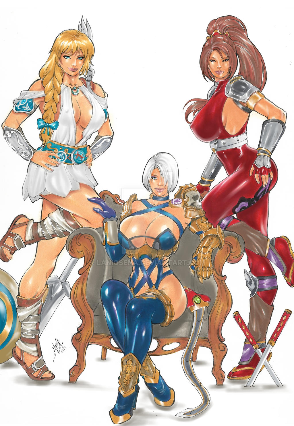 sophitia, ivy, taki, Soulcalibur-commission