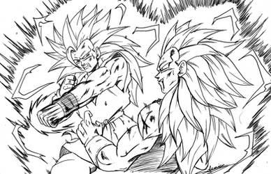 goku ssj3 vs vegeta ssj3 by ChibiDamZ