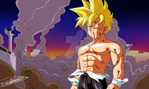 Gohan in the streets of a destroyed West City
