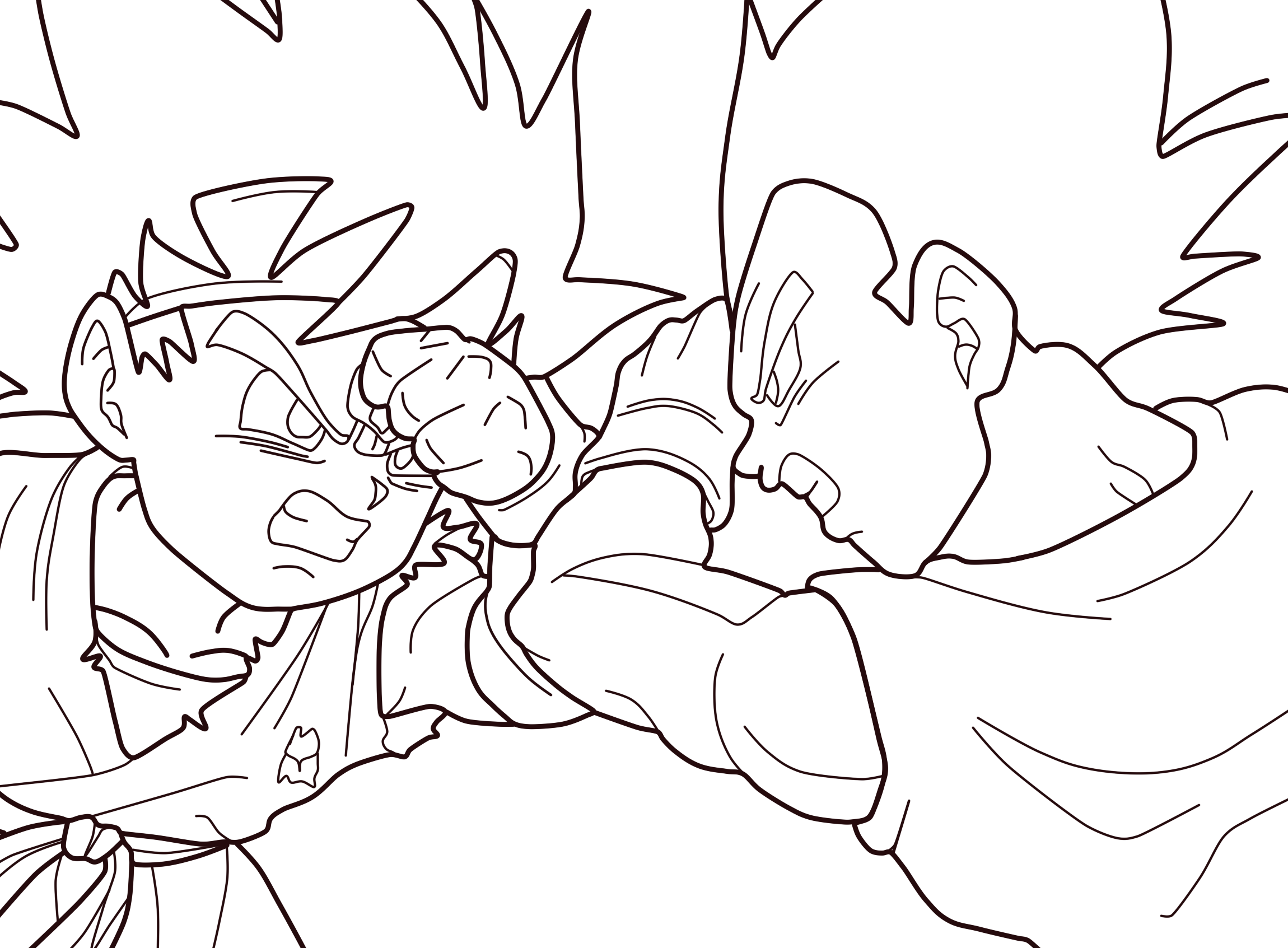 goku jr vegeta jr lineart 01 by zed creations lineart dragon