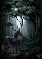 Midnight in the mystical forest by Ayazuea