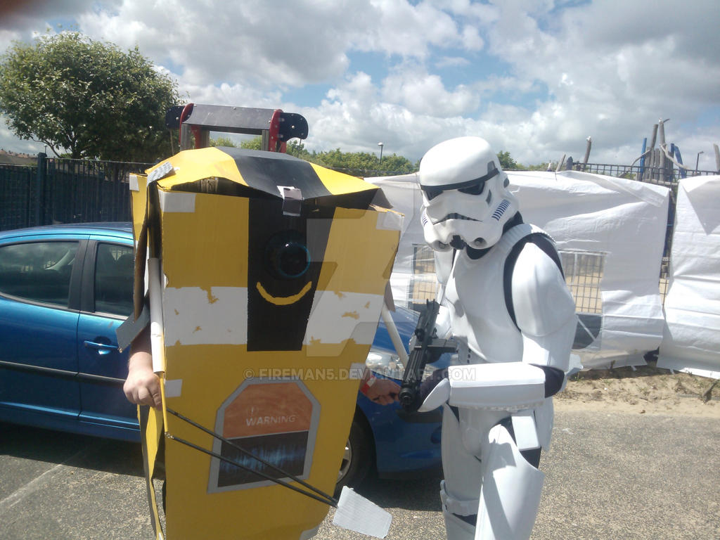 Claptrap and Stormtrooper by fireman5