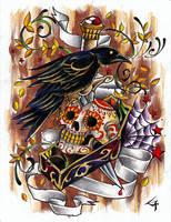 crow skull by XSkullflowerX