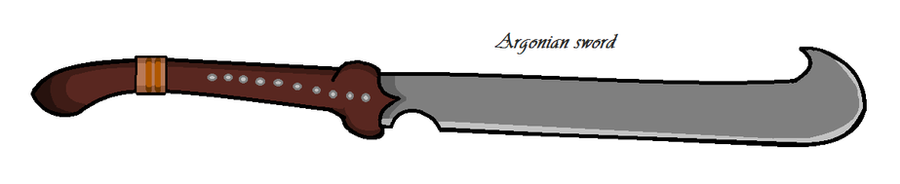Tribal Argonian sword concept by Falafler