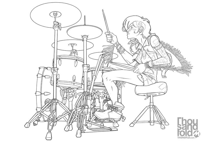 Drummer: Lines by thousandfoldart