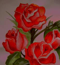Vermilion roses by AquarelleSplash