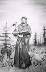 St. Francis of Assisi (black and white)