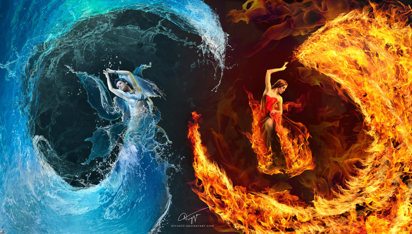 Fire And Water By Niyya00 On DeviantArt