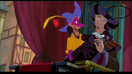 Frollo and Clopin in the Festival of Fools.