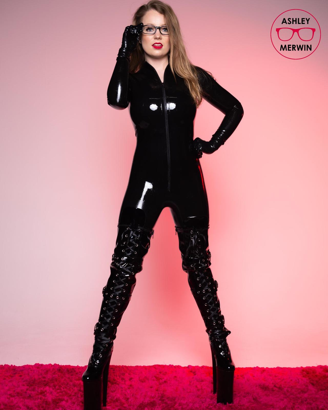 Ashley Merwin - Black Latex Catsuit