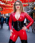 Ashley Merwin - Red Latex Catsuit In Public
