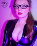 Ashley Merwin - Open Front Black Catsuit