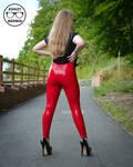 Ashley Merwin - Red Latex Leggings
