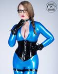 Ashley Merwin - Blue Latex Catsuit