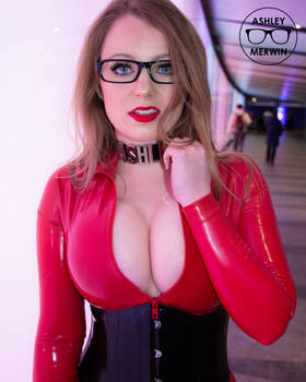 Ashley Merwin - Red Latex Catsuit