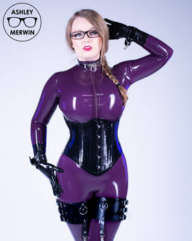 Ashley Merwin - Purple Latex Catsuit