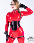 Ashley Merwin - Red and Black Rubber Outfit