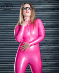 Ashley Merwin - Pink Rubber Catsuit