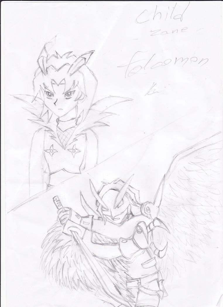 Zane as falcomon,ravemon by LoveCartoonGame