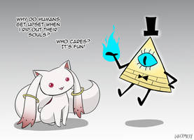 Kyubey and Bill Cipher on the Souls of Humans