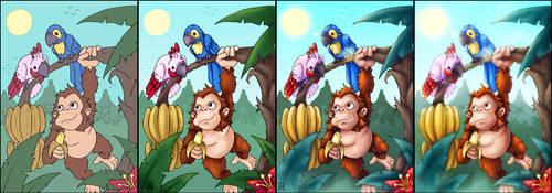 Ape and parrots