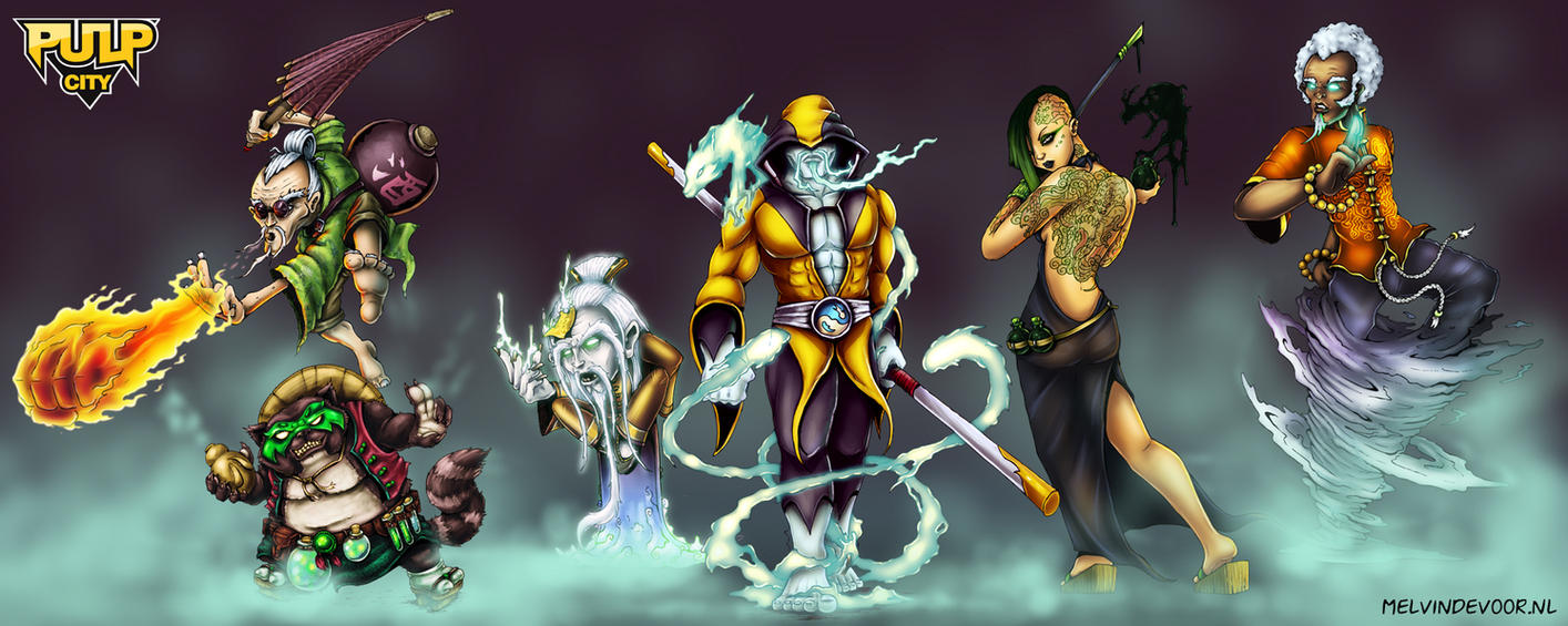 Pulp City KungFu characters by melvindevoor