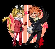 Art trade: Kenma and Hinata by DeadmanJackalope