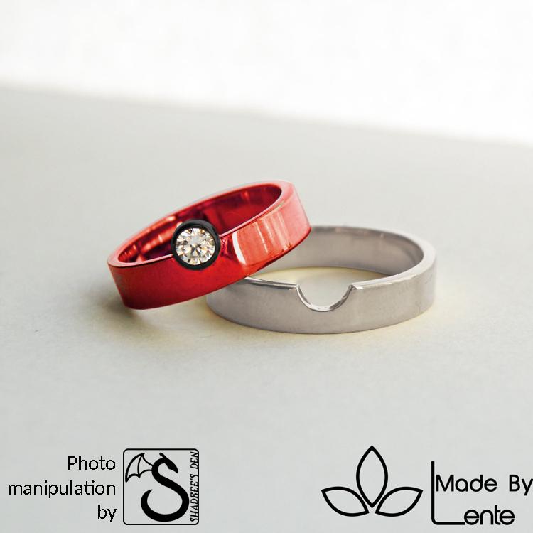 Pokeball style wedding ring by shadree