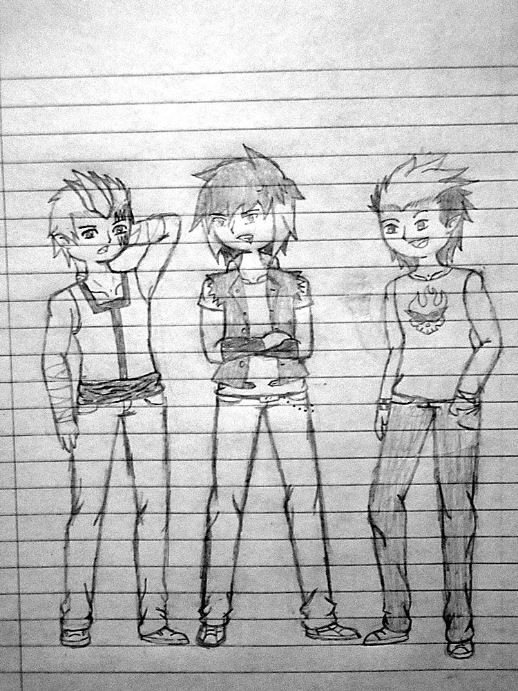 Quick birthday sketch: Mason, Kurama and Hi by Galm03