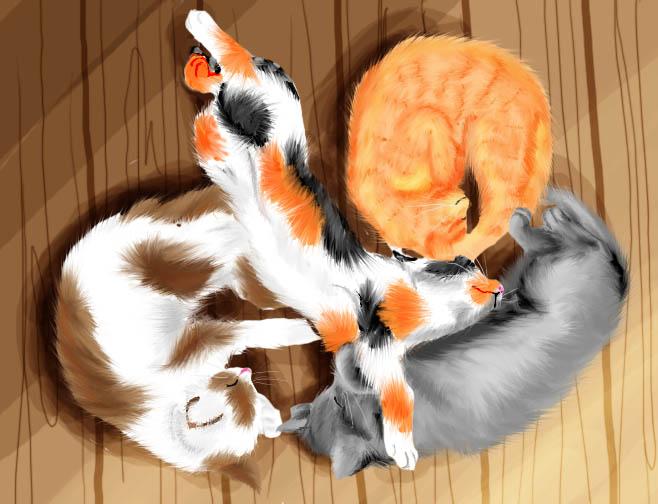 4 Little Kittens....Zzzzz by RainbowStarCat