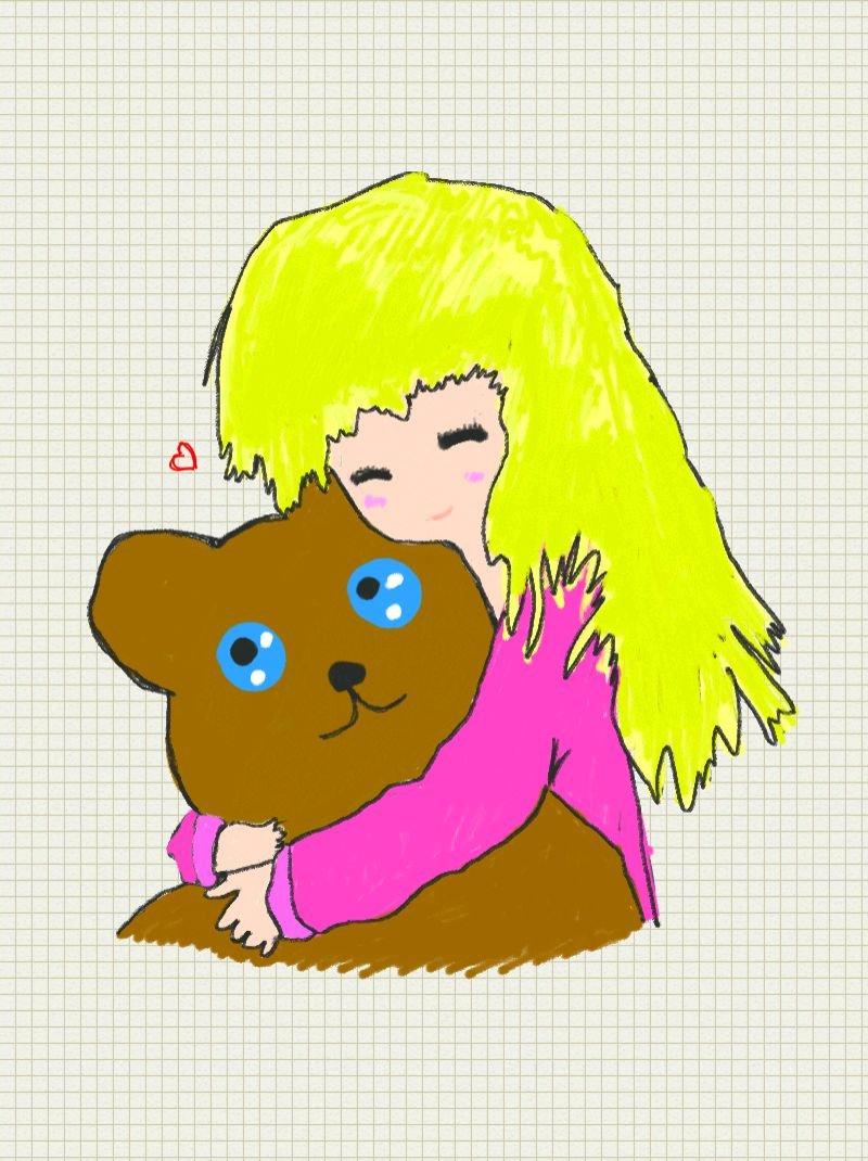 Girl hugging her teddy bear by Necrophilliacness on DeviantArt