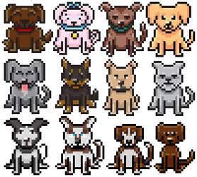 Pixel Art Dogs by Megalomaniacaly