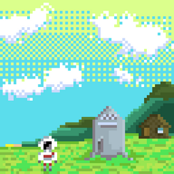 Spaceman landing - Pixel Art by Megalomaniacaly