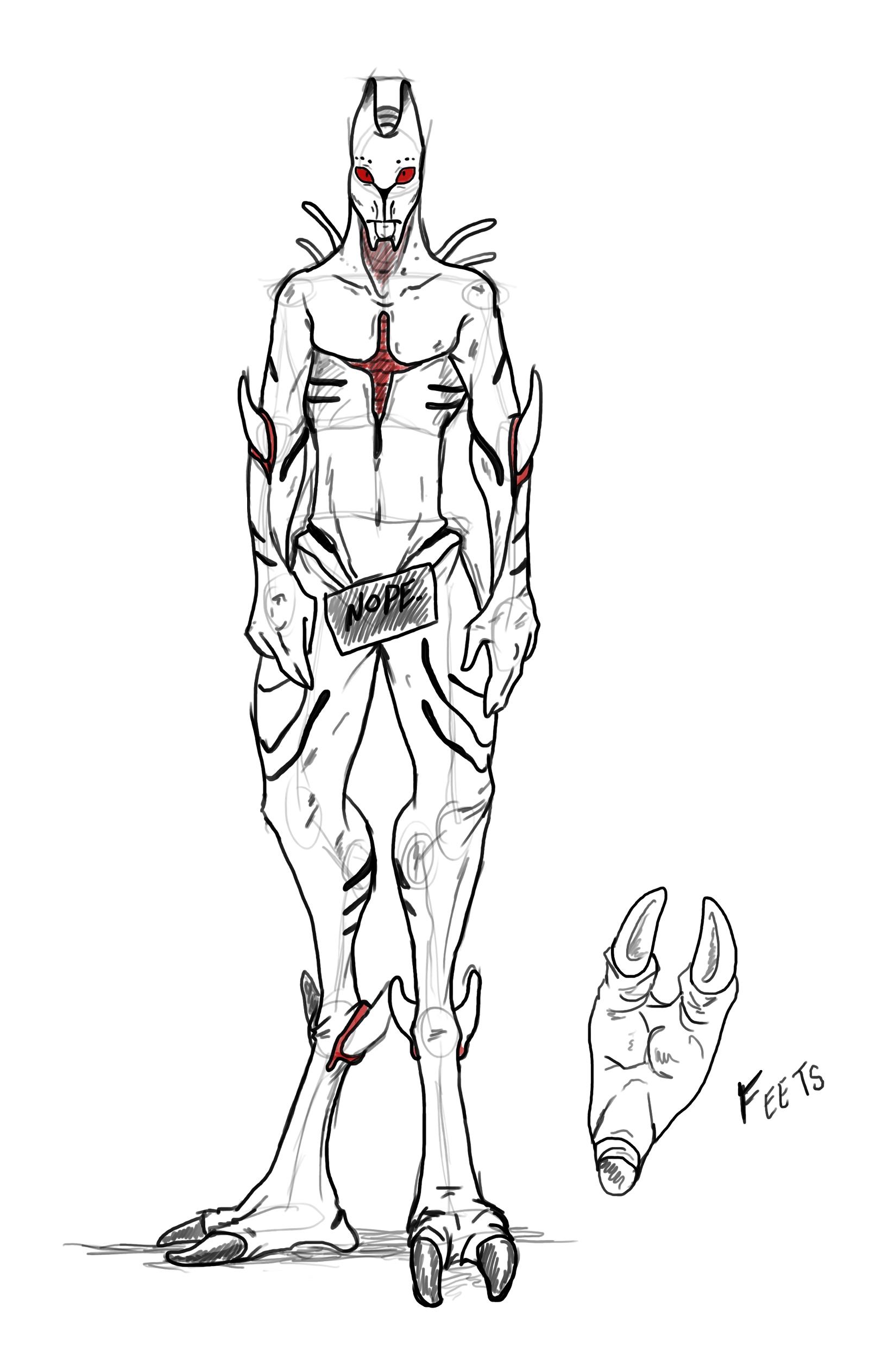 Unnamed Alien Body Sketch By Sunkaro Digital Art Drawings Paintings