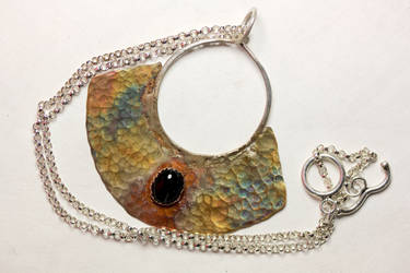 Iridized Textured Copper and Onyx Pendant