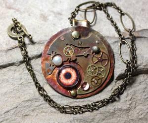 Iridized Copper Steampunk Mechanistic Pendant