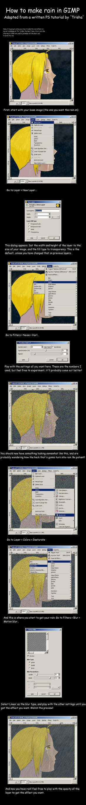 Making rain in GIMP by Fullmetal-Phantom
