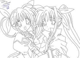 Nanoha - Fate Lineart by RavenTheSilence