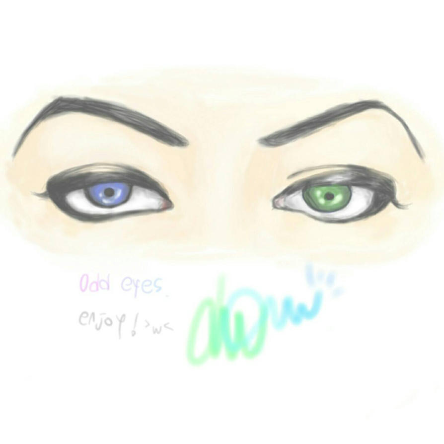 Redraw of 'odd eyes' by WhiteRibbon777