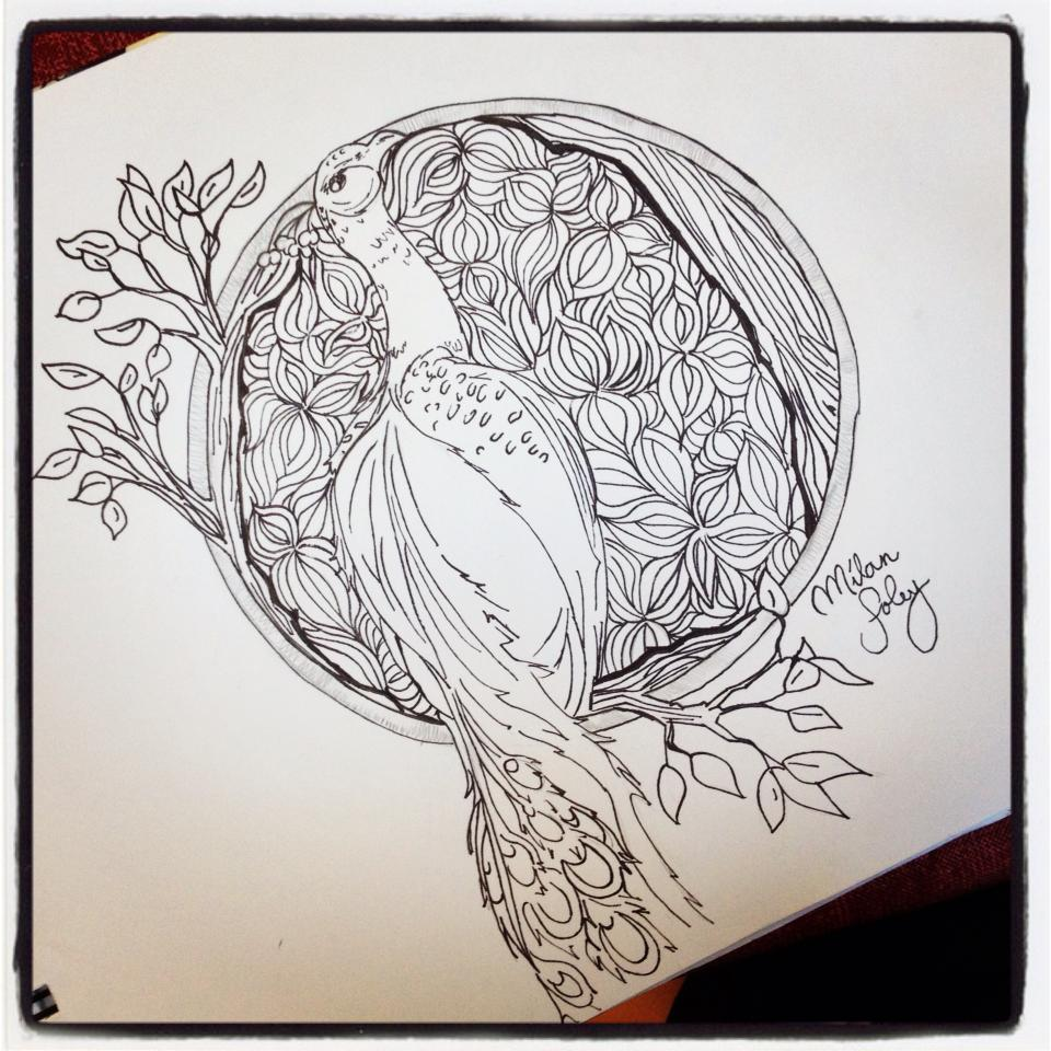 peacock drawing by milianflys traditional art drawings abstract 2013 ...