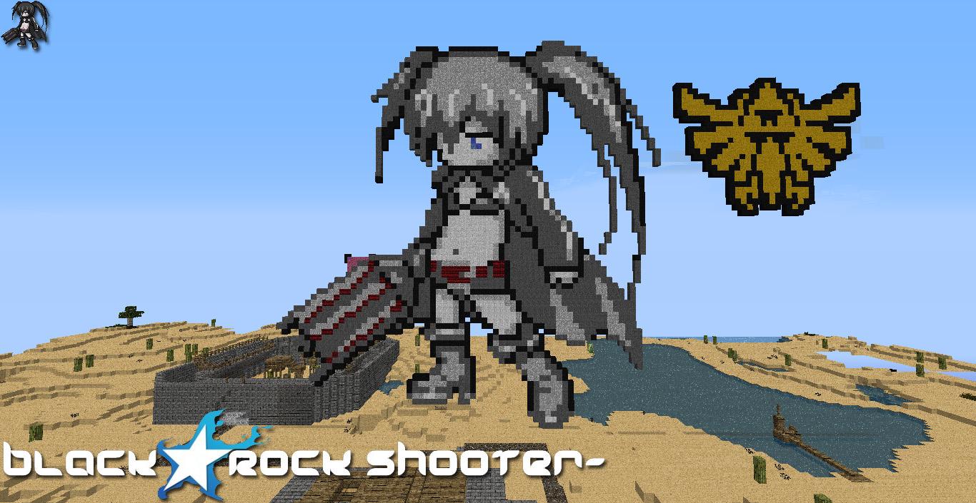 Black Rock Shooter Minecraft Pixel Art By Bogan666 On