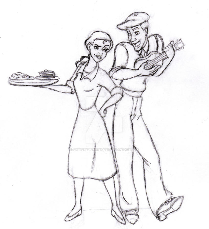 Tiana and naveen by sketchbookdreamer on deviantart for Tiana coloring pages